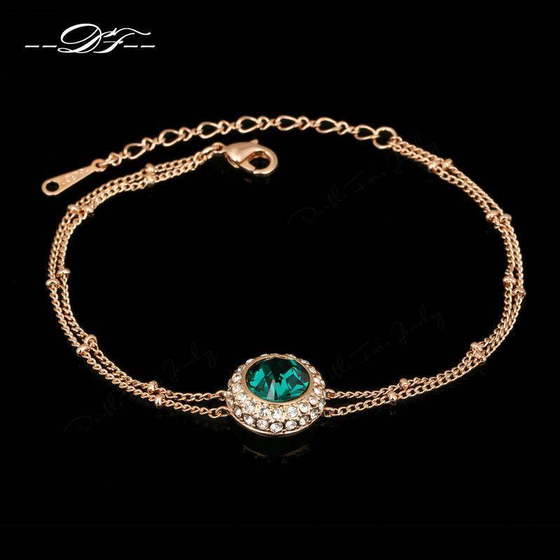 e6bf5ad5877d94 Brand Name  DOUBLE FAIR Bracelets Type  CZ   18 K Rose Gold Bracelets Item  NO  DFH150 Main Stone  Cubic Zirconia Stone Color  Green Material  Zinc  Alloy ...