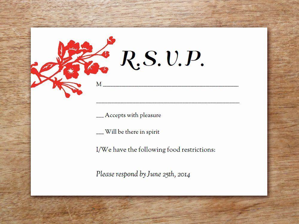 Rsvp Cards Templates Free Fresh Wedding Reception