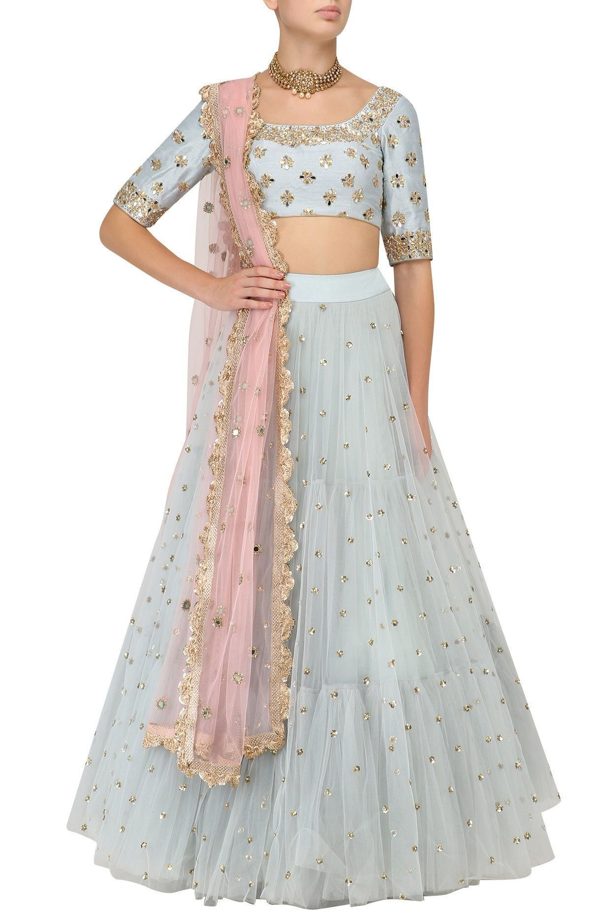 1bca8ff74 Gorgeous ice blue tulle lehenga with baby pink dupatta. Click on image for  price. #Frugal2Fab
