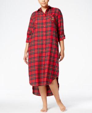 5b7ee930d2b Lauren Ralph Lauren Plus Size Cotton Plaid Ballet-Length Sleepshirt - Red  Plaid 1X
