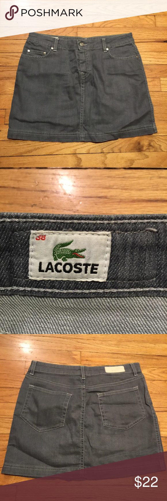 Lacoste gray denim mini skirt - sz 38 Lacoste gray denim mini skirt - sz 38. Waist - 15.5 inches. Length - 15 inches. Excellent condition. Lacoste Skirts Mini