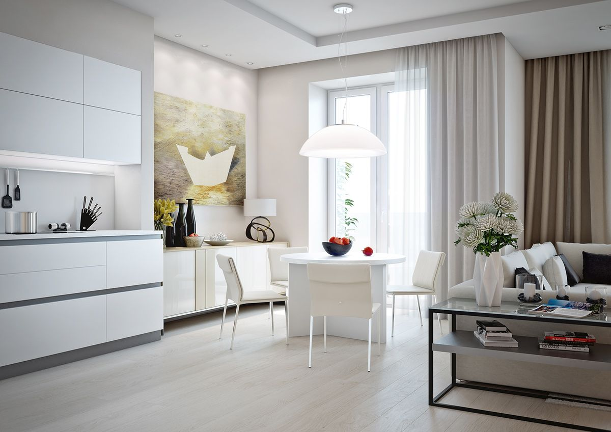 Small Apartment Design For Couples With White