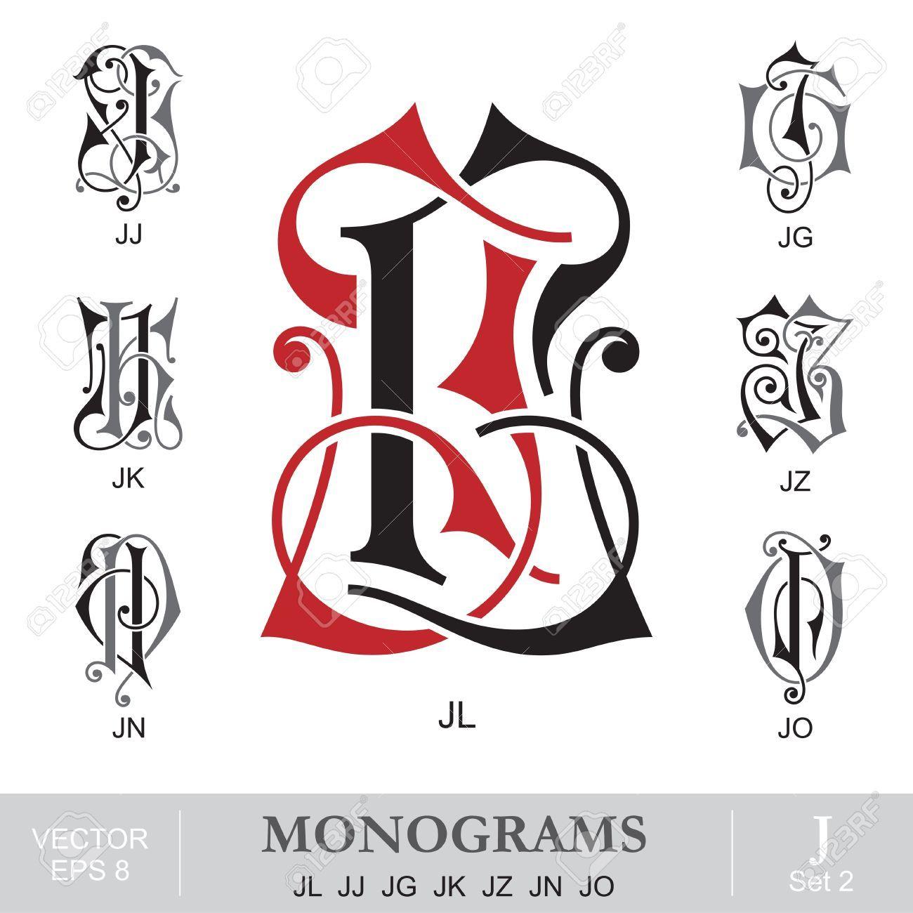 Tj initial luxury ornament monogram logo stock vector - Illustration Of Vintage Monograms Jl Jj Jg Jk Jz Jn Jo Vector Art Clipart And Stock Vectors