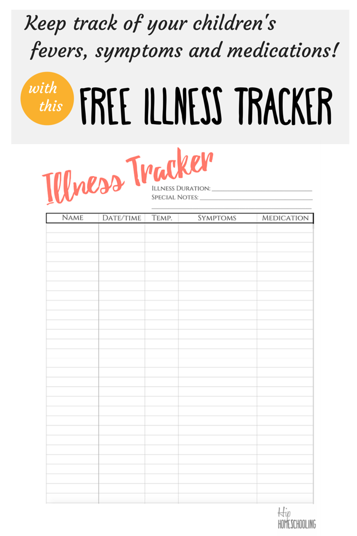 Check Out This Free Illness Tracker And Don T Miss A Thing Medical Binder Medication Chart Medical Binder Printables