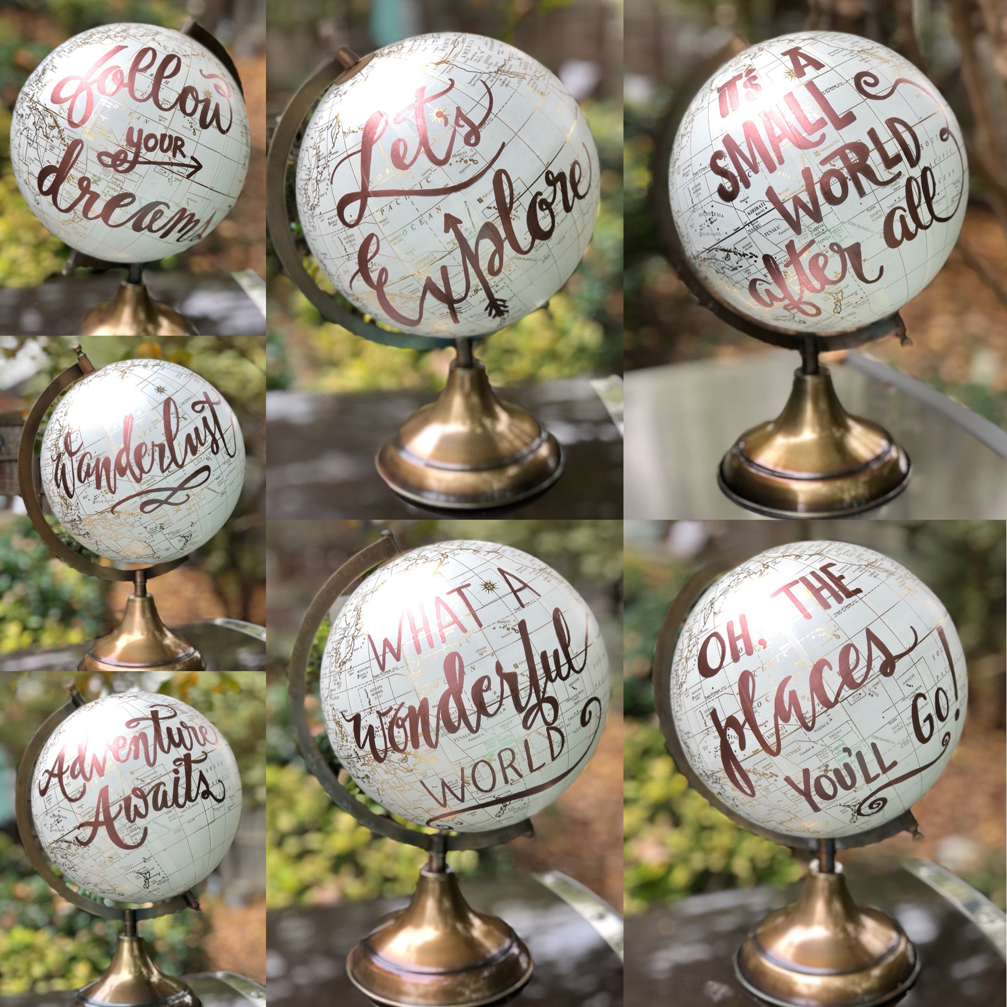 bridal shower keepsake book%0A Rose Gold Custom Writing on a White  u     Gold Globe  Perfect for Yiur Wedding  Guest