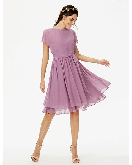 06e808a1dc0 A-Line Jewel Neck Knee Length Chiffon Bridesmaid Dress with Bow(s) Sashes