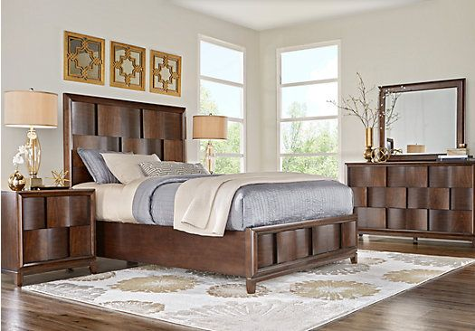baybrook chestnut 5 pc king panel bedroom furniture bedroom sets rh pinterest com