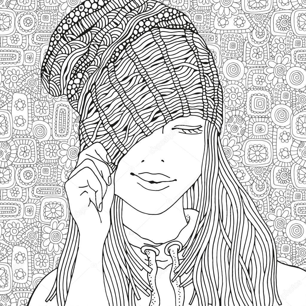 Descargar - Chica con un sombrero de punto — Ilustración de stock ...