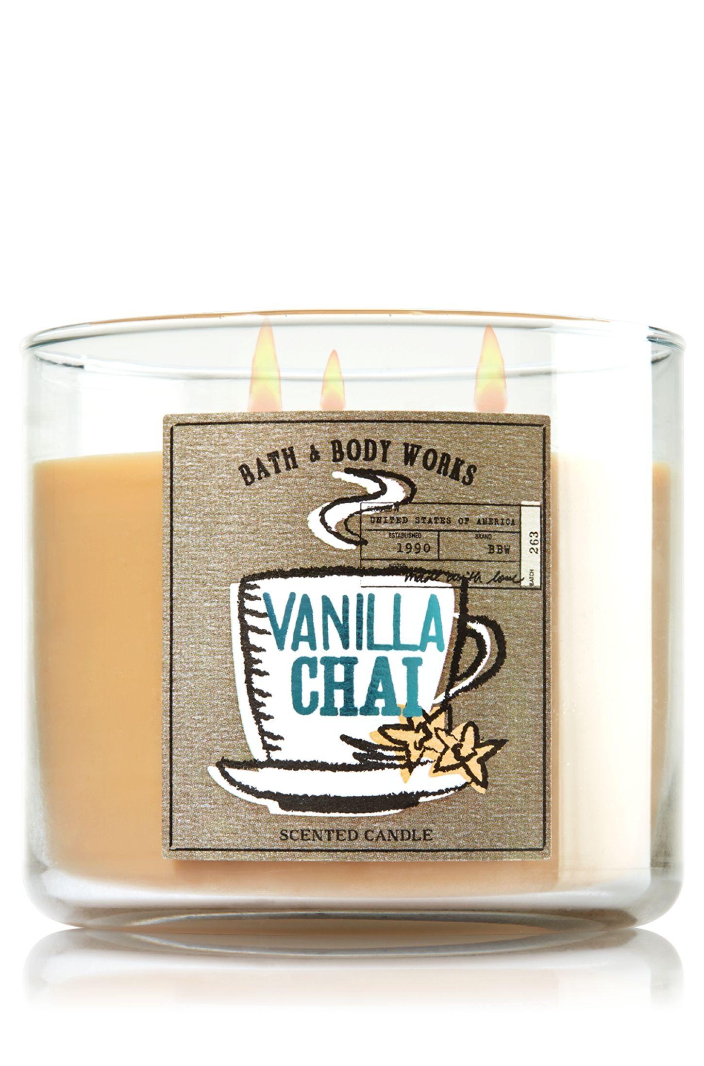 vanilla chai 3 wick candle home fragrance bath body works rh pinterest com