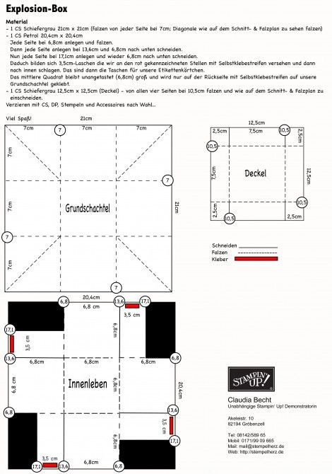 Explosion Box template with pockets for tags. | scrapbooking ...
