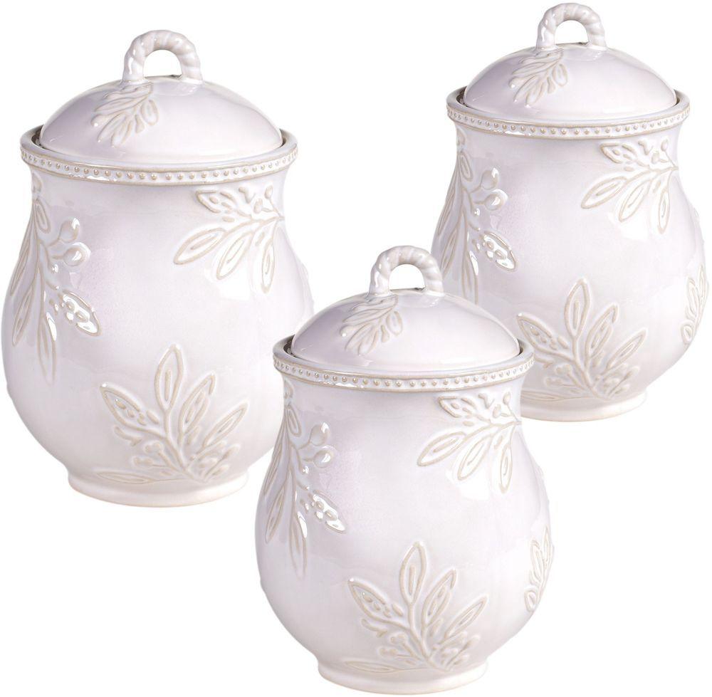Contemporary Ceramic Canister Round Country Ivory 3 Piece Set Kitchen  Storage #CertifiedInternational #Kitchen #
