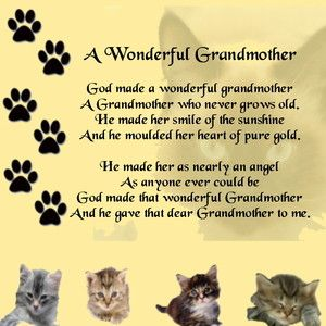 """Personalised Drinks Coaster   + Free Pillow Gift Box  Cats Design  """"A Wonderful Grandmother"""" Poem         NEW Drinks Coaster    This drinks coaster measures 80mm x 80mm and can be personalised with any details you want.    It is made of quality transparent acrylic and comes with the background design shown."""