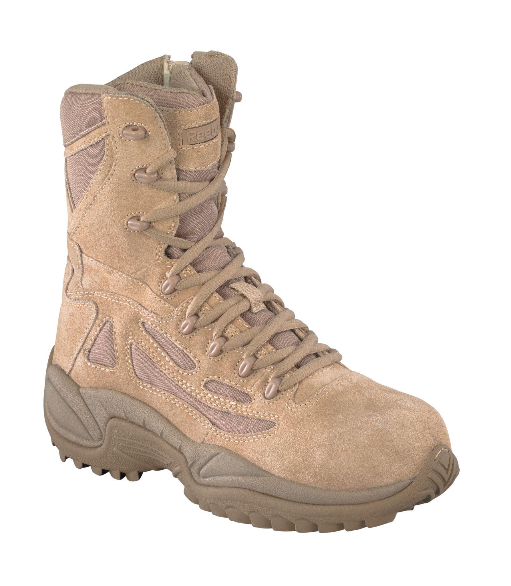 Reebok Mens Desert Tan Suede Tactical Boots Rapid Response