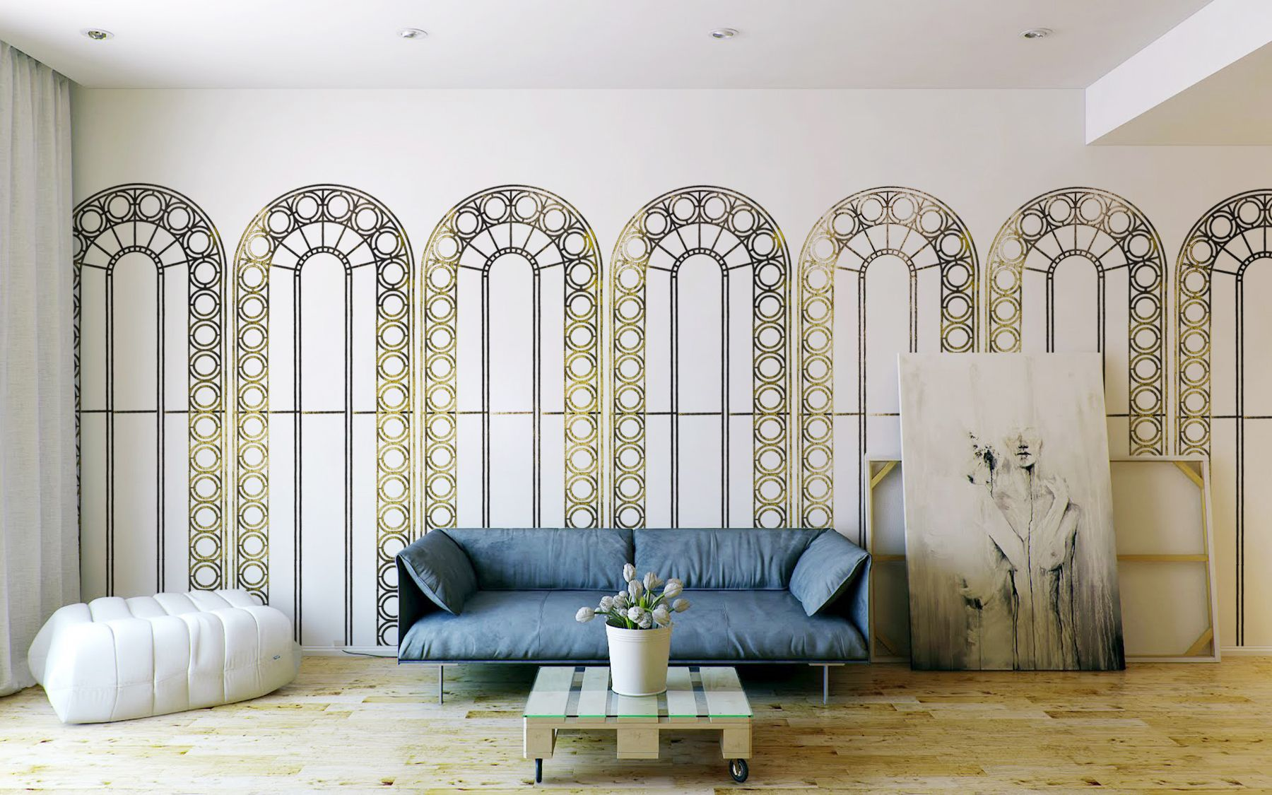 Walls Wallpaper Palladian Gold by Studio Custhom