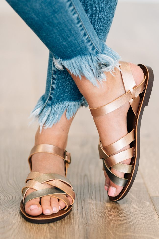 best selling the best attitude autumn shoes Chrissy Salt Water Sandals Mixed metal tone faux leather ...