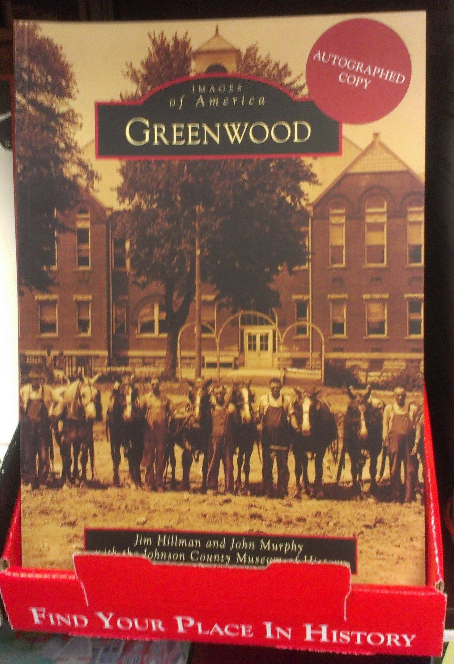 Greenwood history book on sale in the Johnson County Museum's gift shop.  Many of the