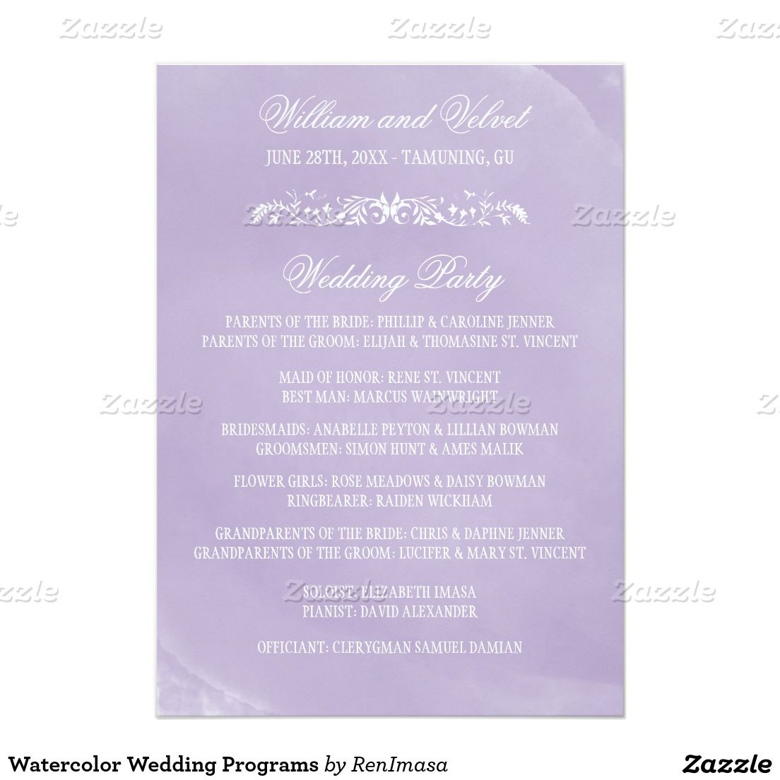 invitation wordings for wedding by bride and groom%0A Cards    Watercolor Wedding Programs  x  Paper Invitation Card