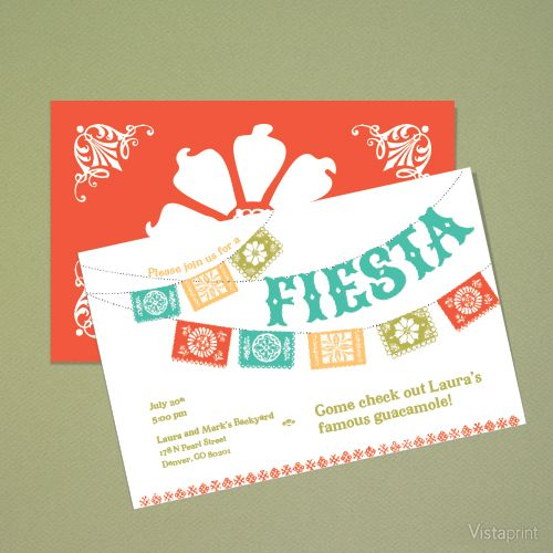 Coral Orange Fiesta Horizontal Flat Invitation