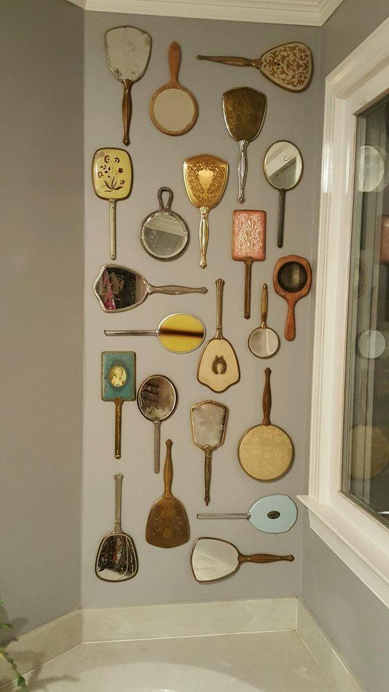 Vintage Hand Mirror Wall Art Kaptafel Vintage Vintage Spiegels