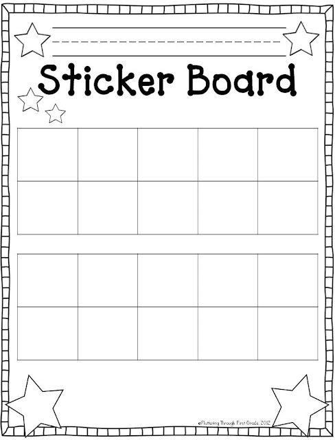 Fluttering Through First Grade tens frames sticker chartsevery - blank sticker chart