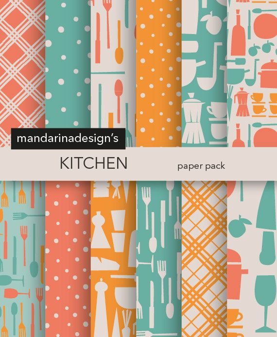 Vintage Kitchen Paper Retro Kitchen Icons Digital Paper