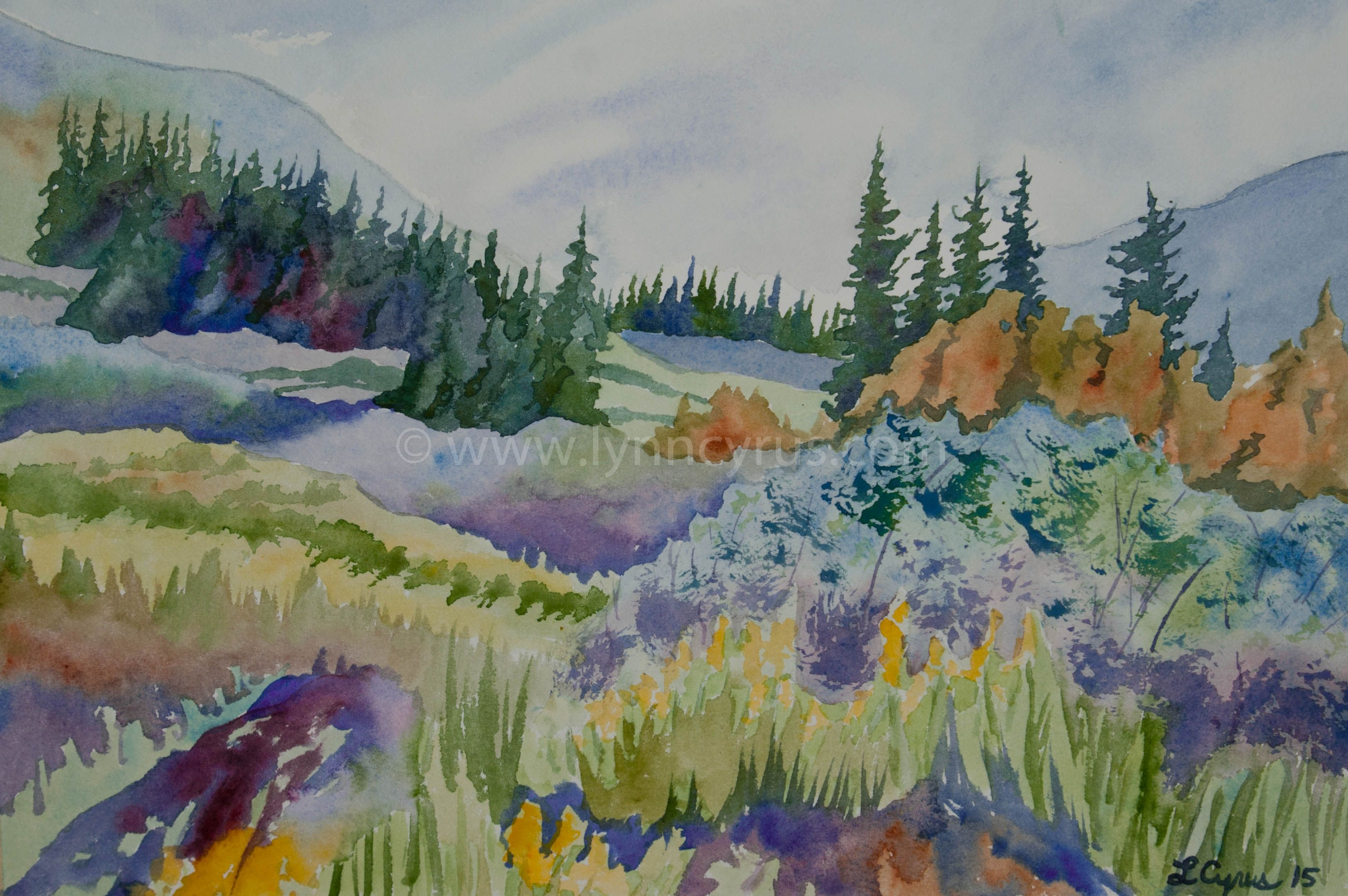 Original Watercolor Painting Summer In The Rockies By Lynn