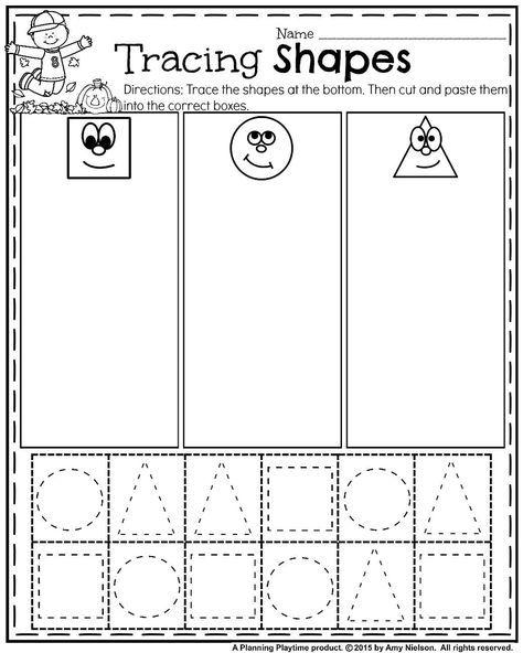 October Preschool Worksheets Planning Playtime Free Preschool Worksheets Shapes Worksheet Kindergarten Shapes Worksheets