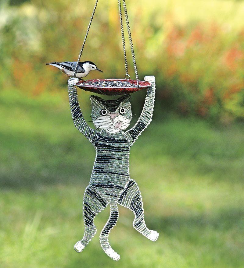 CAT BIRDHOUSE POUNCING CALICO CAT BIRD HOUSE OUTDOOR BIRD HOUSES GARDEN