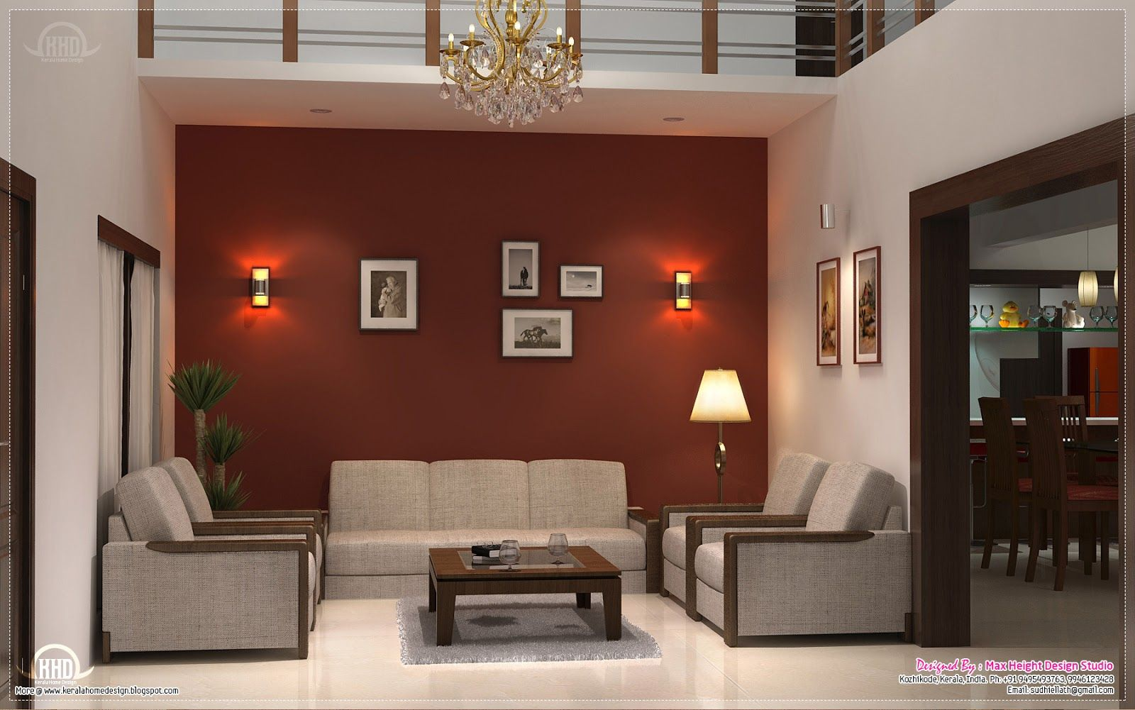 Living Room Designs Kerala Homes dining kitchen living room interior designs kerala home design for