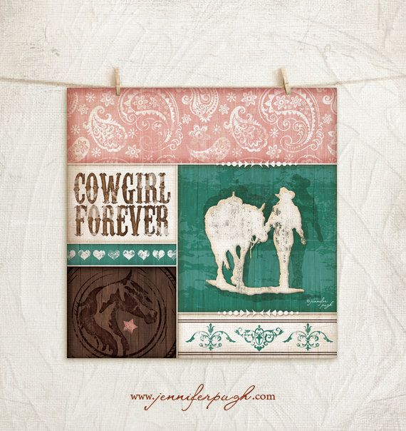Cowgirl Forever -Cowgirl Collection-12x12 Art Print -Childrens ...