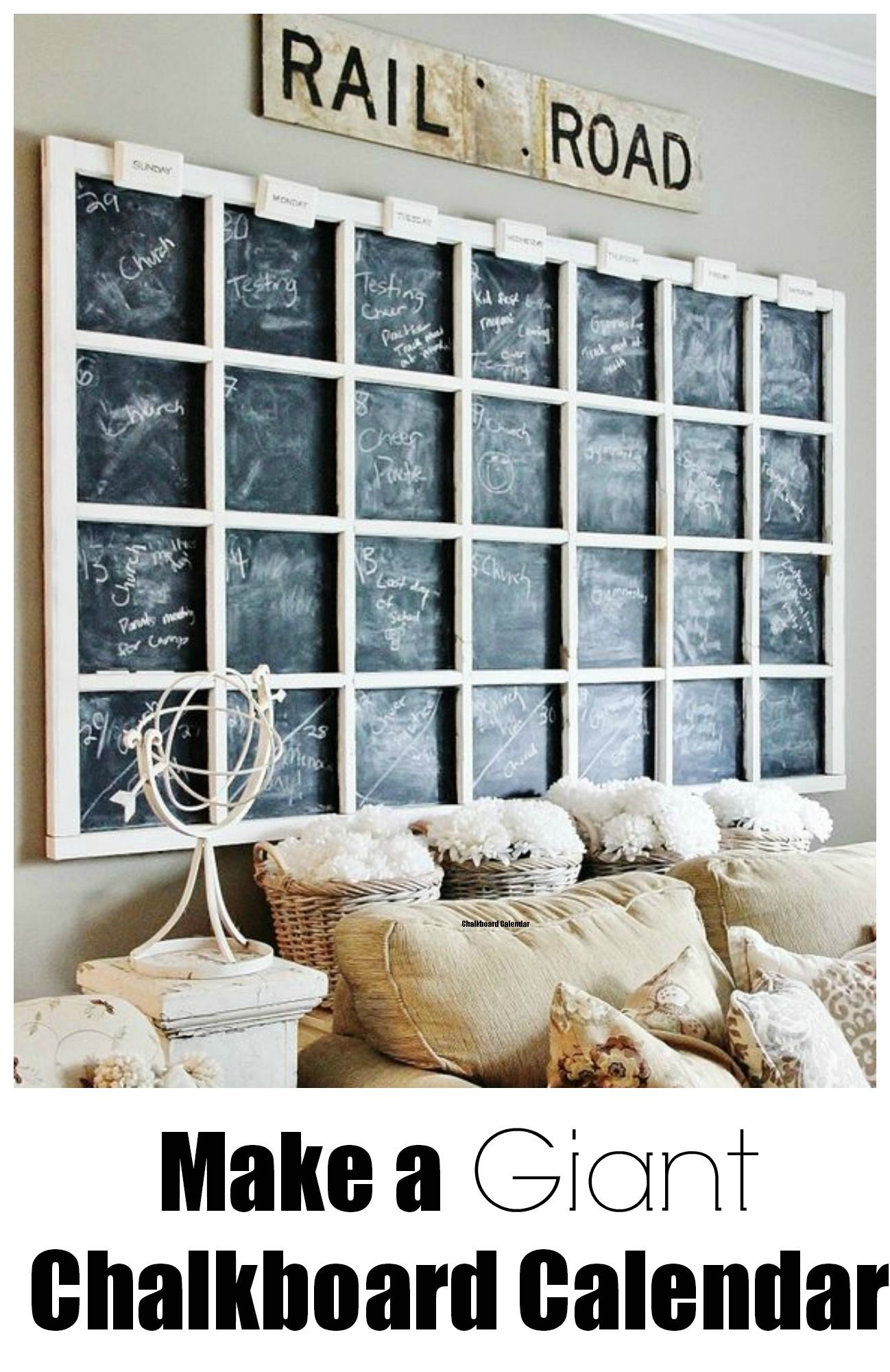 How to Make a Giant Chalkboard Wall Calendar www.thistlewoodfarms.com #Chalkboard  #calendar  #organization