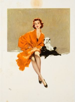 Lady With Dogs, 1950s - original vintage poster listed on AntikBar.co.uk