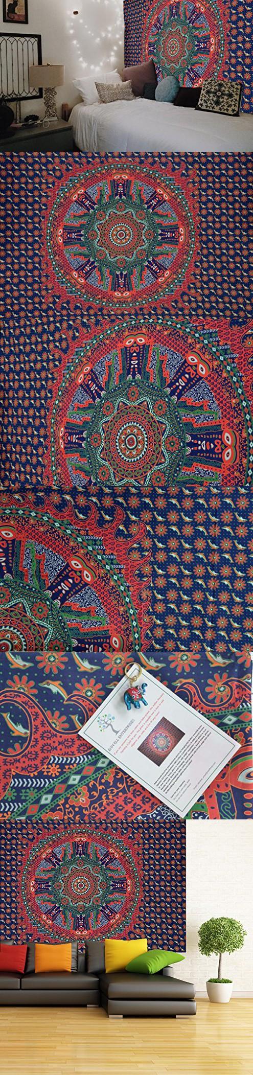 ENN ELL ENTERPRISES Hippie Mandala Bohemian Tiki Man Indian Bedspread Mandala Relaxation Tapestry, 84X54 Inches, Blue