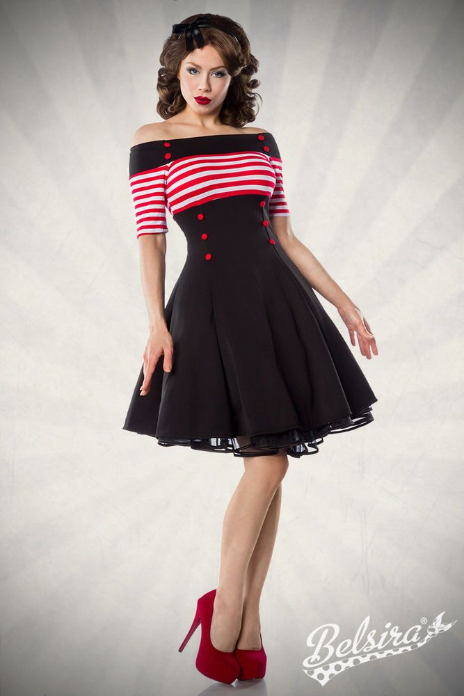 e4c9613bef849 Carmen Retro Rockabilly 50er Pin Up Vintage Kleid*Schulterfrei*34-42-XS S M  L XL
