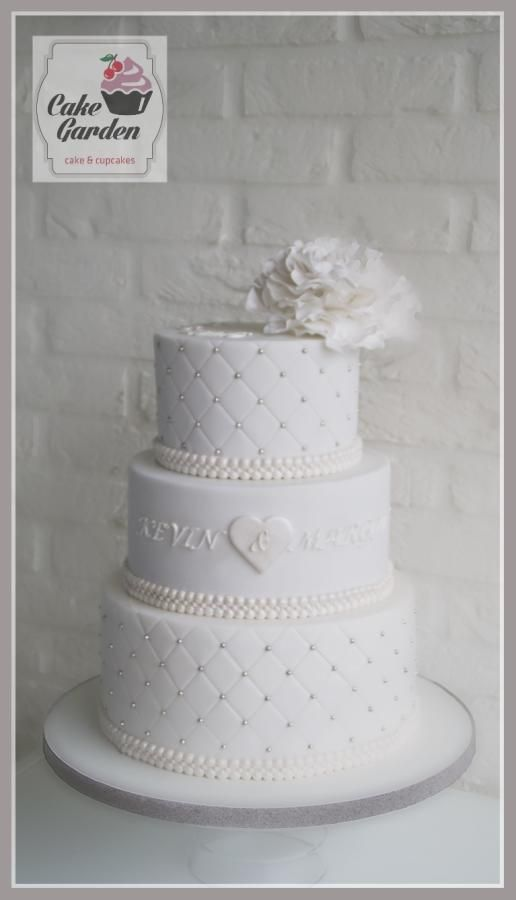 Wedding cake white with a touch of silver by lalique1 - http://cakesdecor.com/cakes/243490-wedding-cake-white-with-a-touch-of-silver