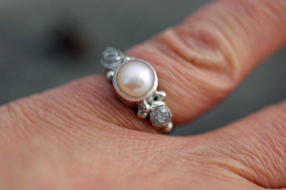 Rough Diamond and Champagne Pearl Engagement Band by Specimental