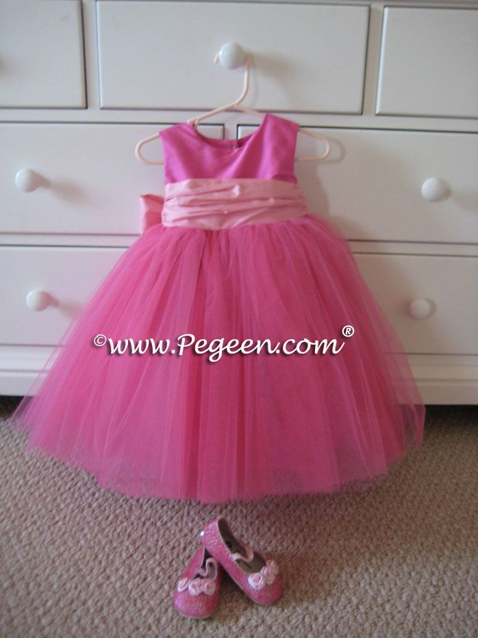 overstock pink flower girl dresses | HOT PINK AND PEONY BABY PINK ...