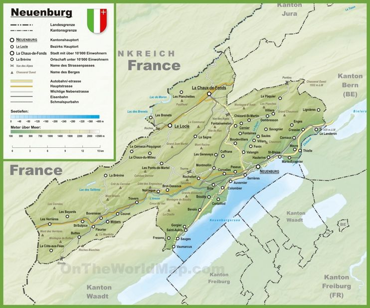 Canton of Neuchtel map with cities and towns Maps Pinterest