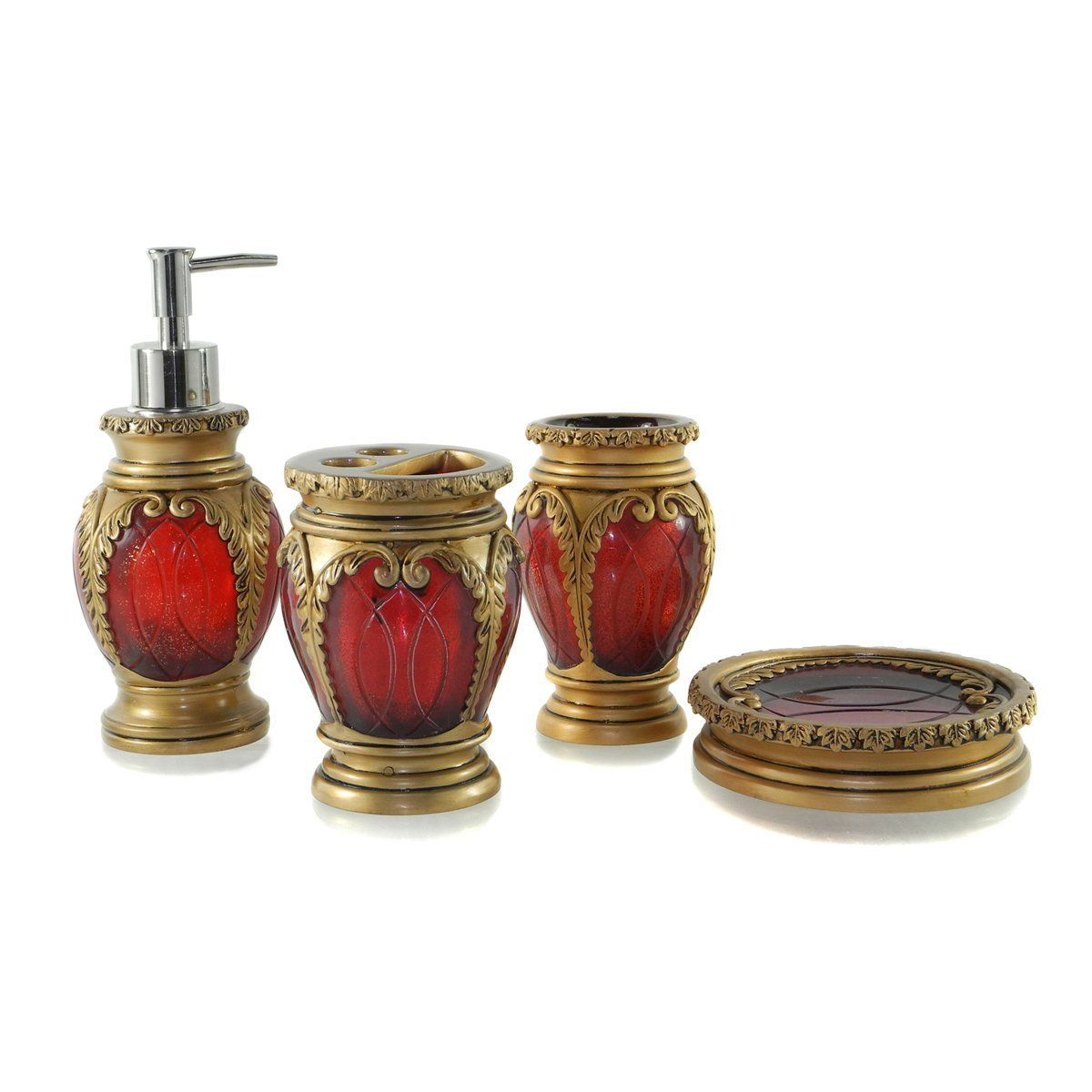 Dream Bath Burgundy Latern Bath Ensemble 4 Piece Bathroom