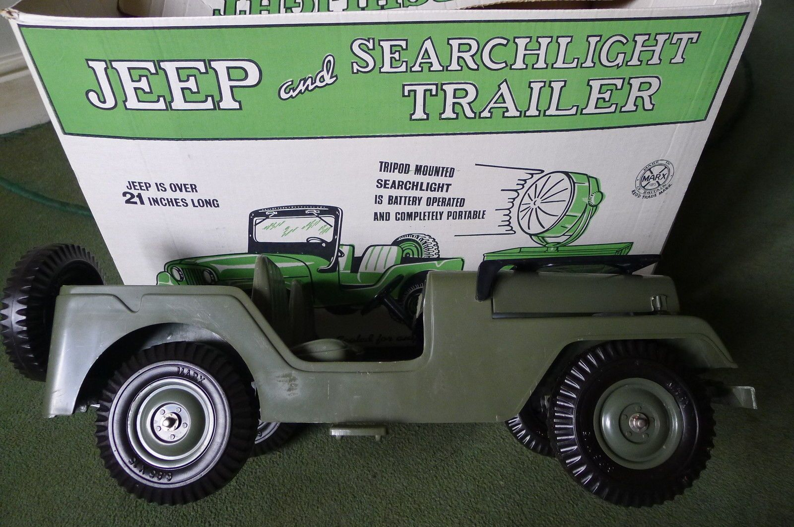 Jeep toys images  Vintage Action Man Boxed Marx Jeep Tailer u Spotlight Box