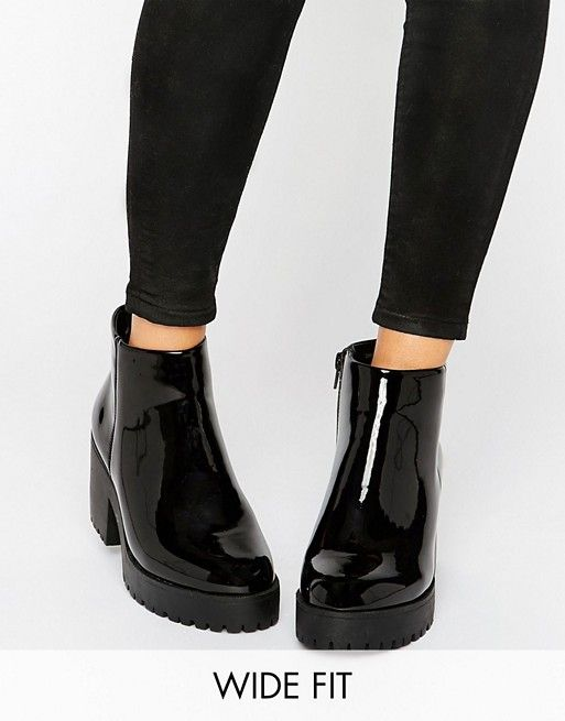 Fit Chunky Patent Pu Ankle Boot