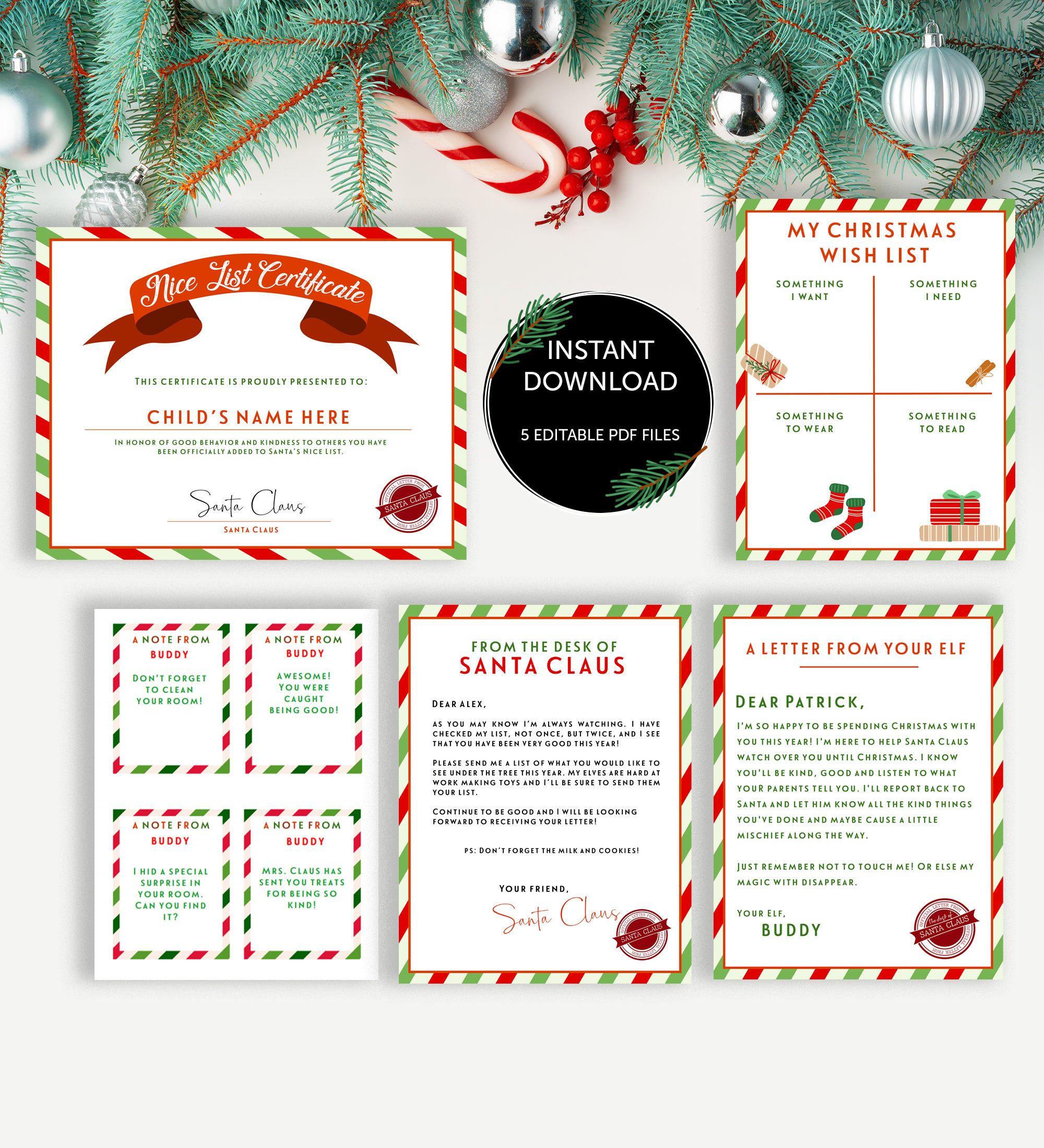 Christmas Letter Bundle, Letter From Santa, Nice List