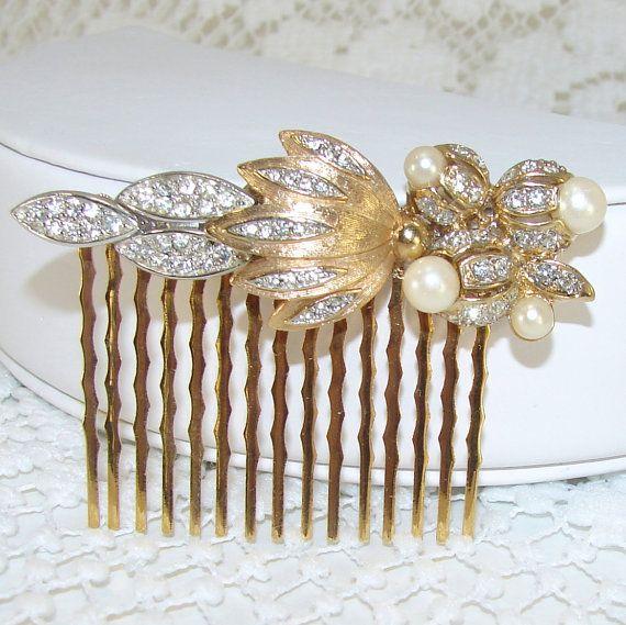Wedding Gold Pearl Rhinestone Hair Comb Flower Leaf by OhFaro
