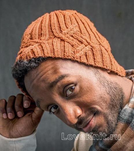 Для мужчин шапка бини с рельефным рисунком фото к описанию ...