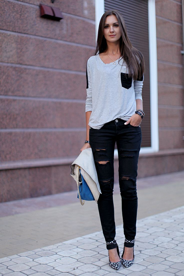 1000  images about Black Distressed Jeans Outfit on Pinterest ...