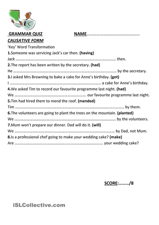 Causative Form Grammar Quiz Word Transformation English Grammar [ 1440 x 1018 Pixel ]