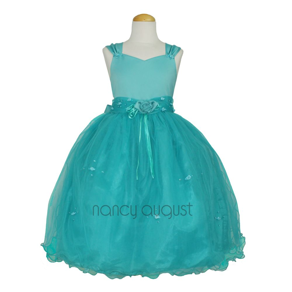 Tiffany Teal Blue Flower Girl Dress Matte Satin Bodice With Tulle