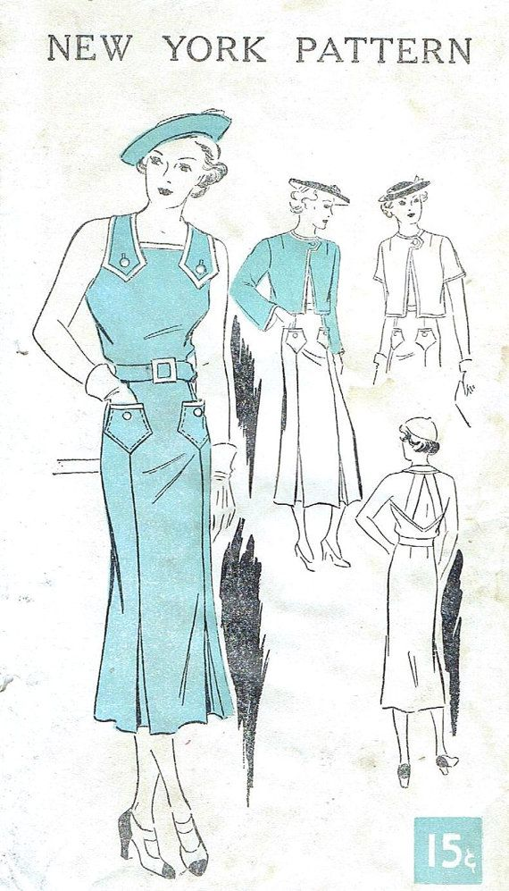 1930s Sun Back Dress New York 656 Vintage Sewing Pattern UNCUT Bust ...