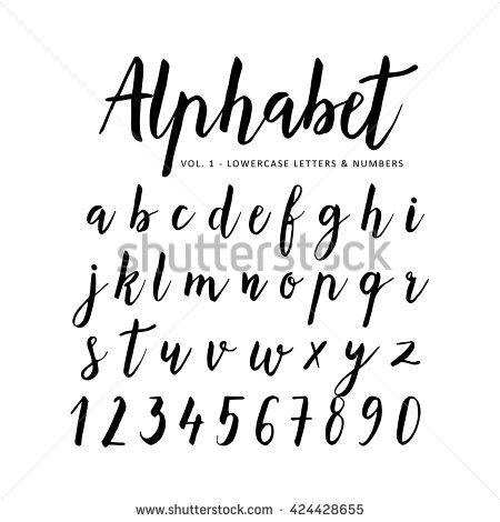 hand drawn handwritten vector alphabet brush font