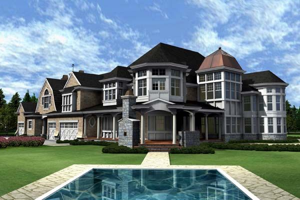 rear elevation of farmhouse victorian 9000 sq ft house plan 87643 - 9000 Square Feet House Plans